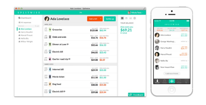 splitwise application budget voyages